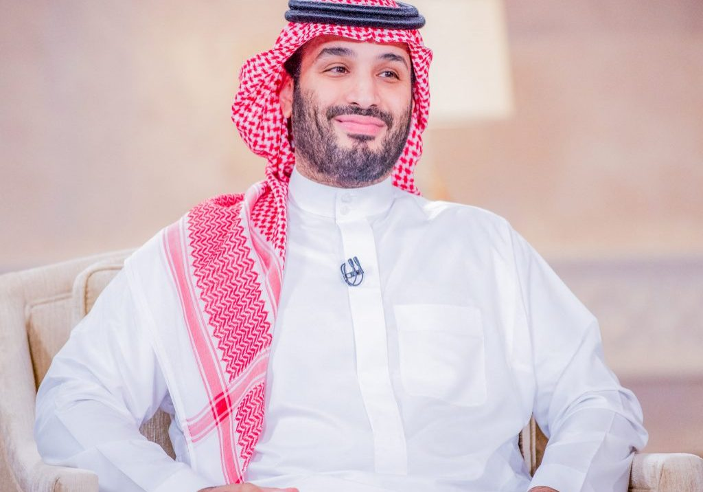 """A handout picture provided by the Saudi Royal Palace on April 27, 2021, shows Saudi Crown Prince Mohammed bin Salman during an interview with the Middle East Broadcasting Center (MBC) in the capital Riyadh to mark the fifth anniversary of his vision 2030. (Photo by various sources / AFP) / RESTRICTED TO EDITORIAL USE - MANDATORY CREDIT """"AFP PHOTO / SAUDI ROYAL PALACE / BANDAR AL-JALOUD"""" - NO MARKETING - NO ADVERTISING CAMPAIGNS - DISTRIBUTED AS A SERVICE TO CLIENTS"""